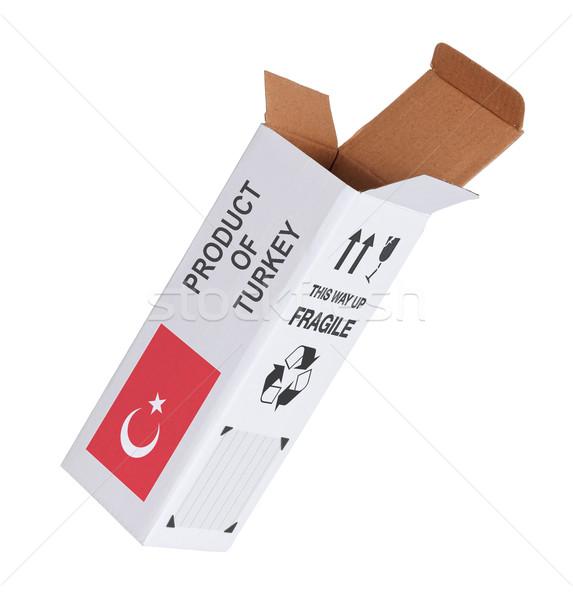 Export termék Törökország kinyitott papír doboz Stock fotó © michaklootwijk