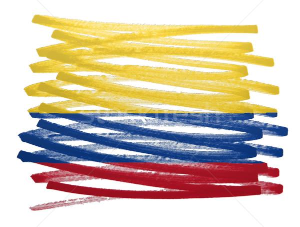 Stockfoto: Vlag · illustratie · Colombia · pen · business · verf