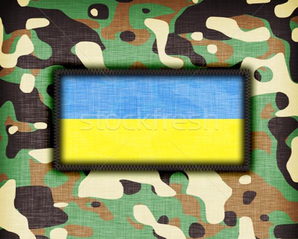 álca egyenruha Ukrajna zászló absztrakt zöld Stock fotó © michaklootwijk
