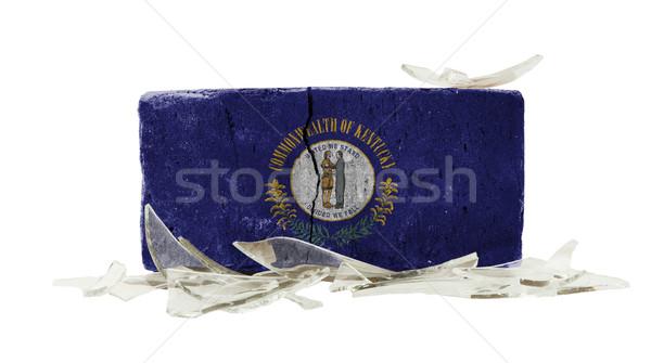 Tuğla kırık cam şiddet bayrak Kentucky duvar Stok fotoğraf © michaklootwijk