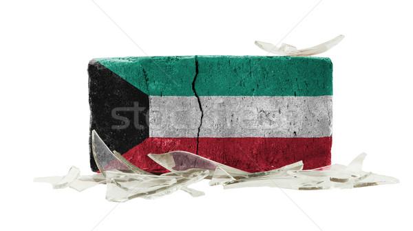кирпичных битое стекло насилия флаг Кувейт стены Сток-фото © michaklootwijk