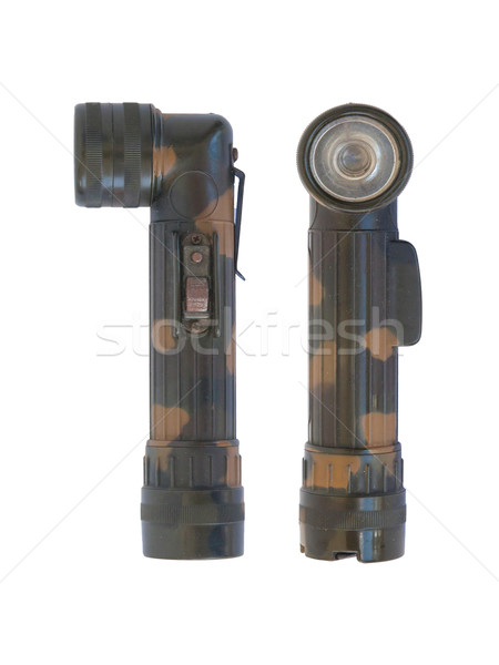 Used green military flash light on white background Stock photo © michaklootwijk