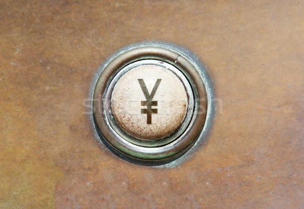 Edad botón yen grunge imagen rojo Foto stock © michaklootwijk