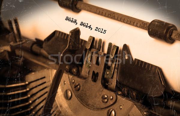 Foto stock: Velho · máquina · de · escrever · papel · perspectiva · foco