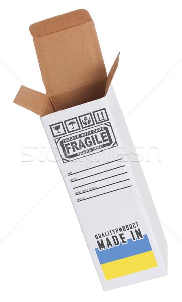 Exportar produto Ucrânia papel caixa Foto stock © michaklootwijk