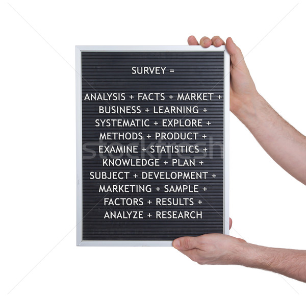 Survey concept in plastic letters on very old menu board Stock photo © michaklootwijk