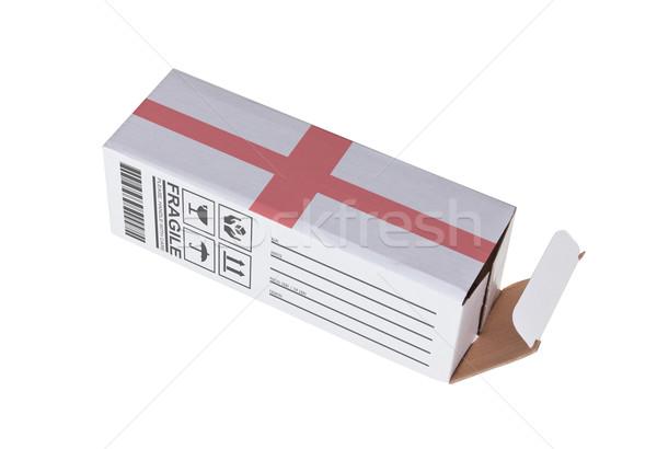 Export termék Anglia kinyitott papír doboz Stock fotó © michaklootwijk