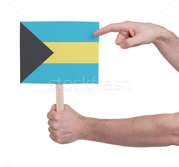 Hand holding small card - Flag of Bahamas Stock photo © michaklootwijk