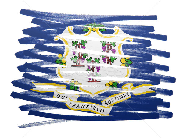 Bandeira ilustração Connecticut caneta pintar silhueta Foto stock © michaklootwijk