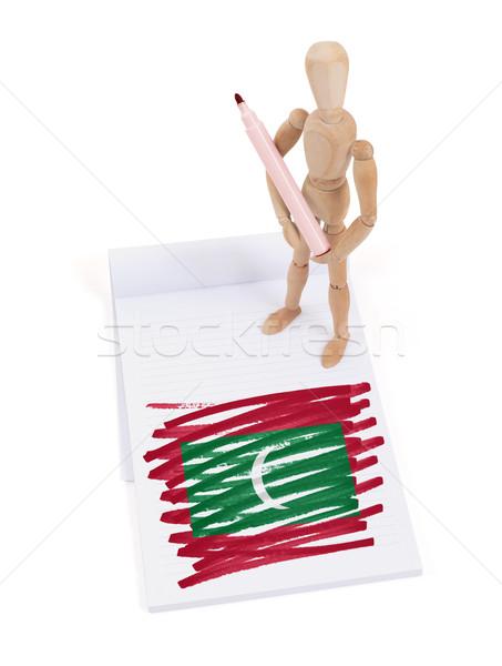 Сток-фото: манекен · рисунок · Мальдивы · флаг · бумаги
