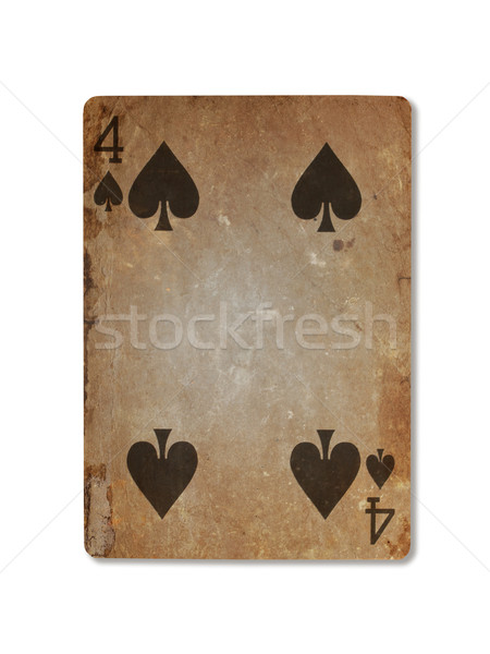Very old playing card, four of spades Stock photo © michaklootwijk