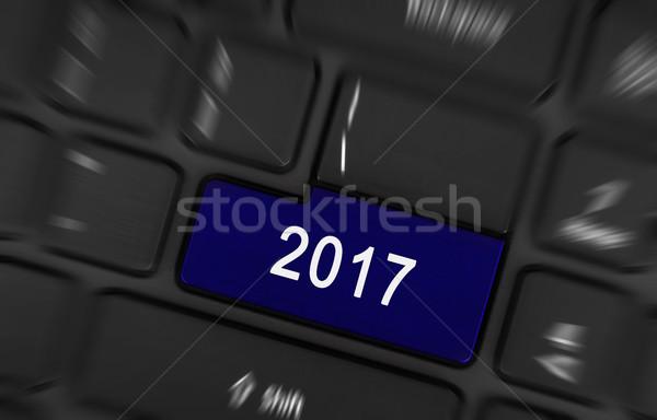 Blue button 2017 Stock photo © michaklootwijk