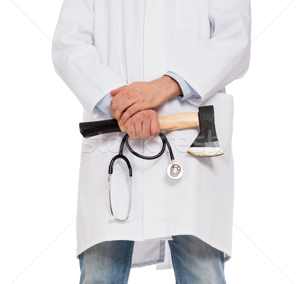 Evil medic holding a small axe and stethoscope Stock photo © michaklootwijk