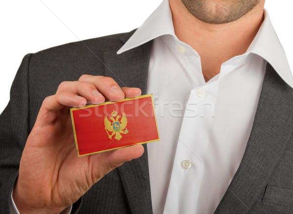 бизнесмен визитной карточкой Черногория флаг работник Сток-фото © michaklootwijk