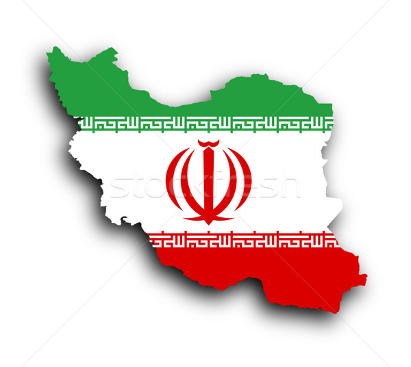 Map of Iran and Iranian flag illustration Stock photo © michaklootwijk