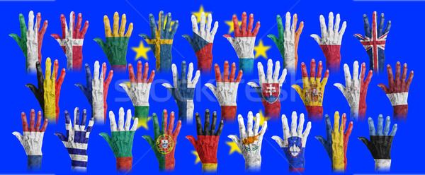 Handen vlag schilderij achtergrond frame Europa Stockfoto © michaklootwijk