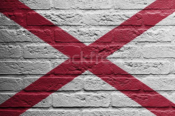 кирпичная стена Живопись флаг Алабама изолированный кирпичных Сток-фото © michaklootwijk