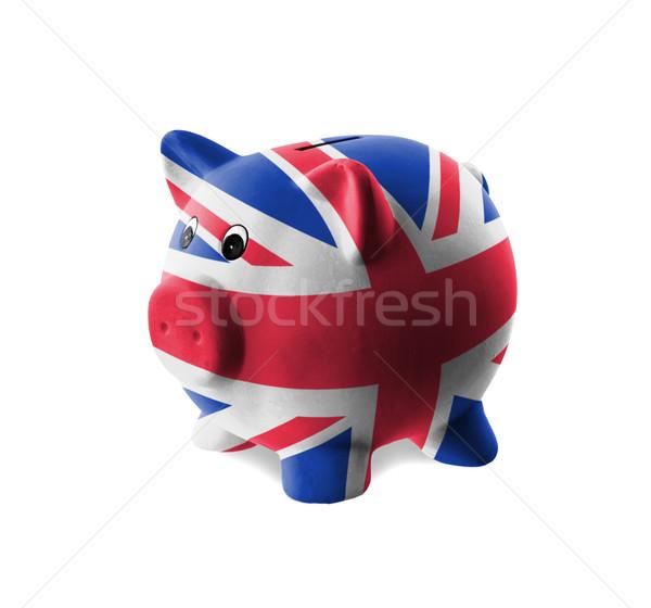 Keramische spaarvarken schilderij vlag Verenigd Koninkrijk geld Stockfoto © michaklootwijk
