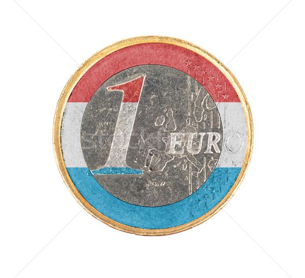 Euro munt geïsoleerd witte vlag Luxemburg Stockfoto © michaklootwijk