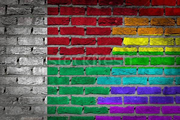 темно кирпичная стена правые Мадагаскар текстуры флаг Сток-фото © michaklootwijk