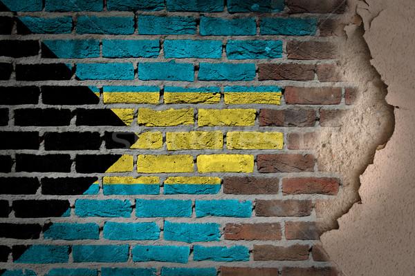 Sötét téglafal tapasz Bahamák textúra zászló Stock fotó © michaklootwijk
