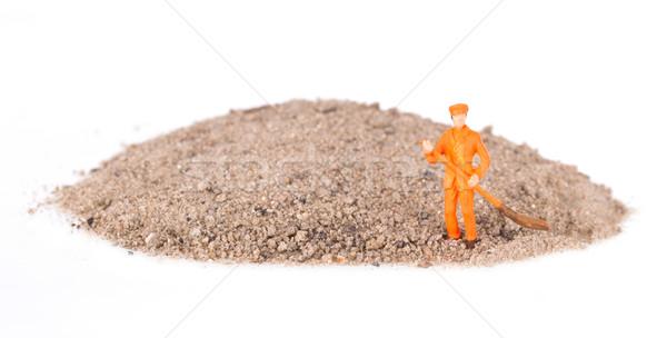 Miniatuur werknemer schoonmaken toetsenbord technologie Stockfoto © michaklootwijk