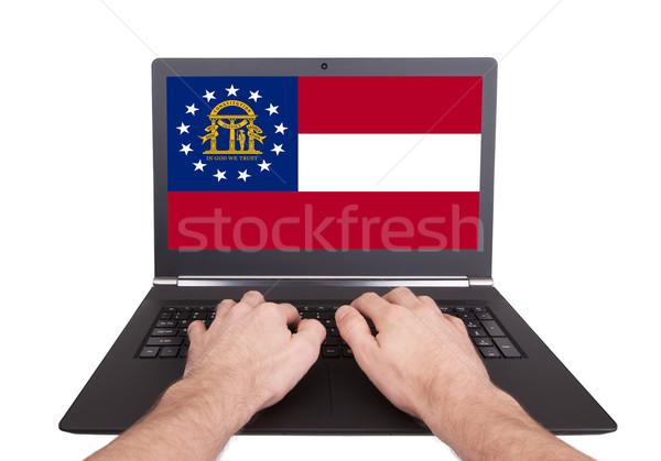 Stockfoto: Handen · werken · laptop · Georgië · tonen · scherm