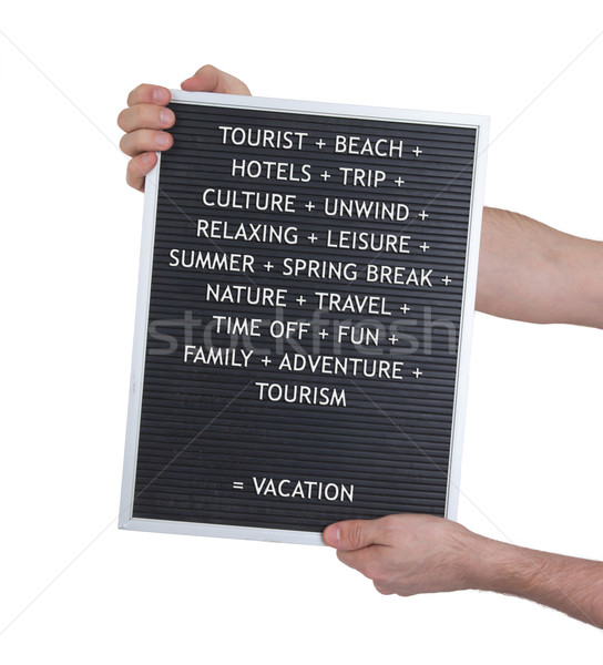 Vacation concept in plastic letters on very old menu board Stock photo © michaklootwijk