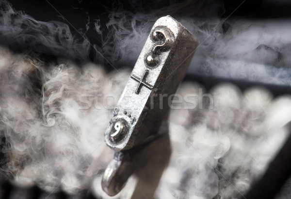 Question mark hammer - old manual typewriter - mystery smoke Stock photo © michaklootwijk