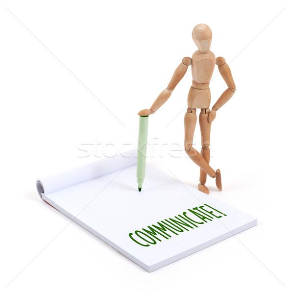 Houten etalagepop schrijven communiceren plakboek business Stockfoto © michaklootwijk