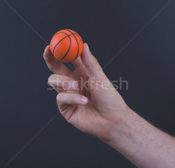 Isolated hand with a mini basket ball  Stock photo © michaklootwijk