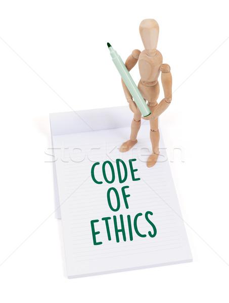Maniquí escrito código ética álbum de recortes Foto stock © michaklootwijk