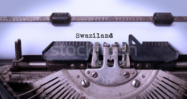 Starych maszyny do pisania Suazi napis vintage kraju Zdjęcia stock © michaklootwijk