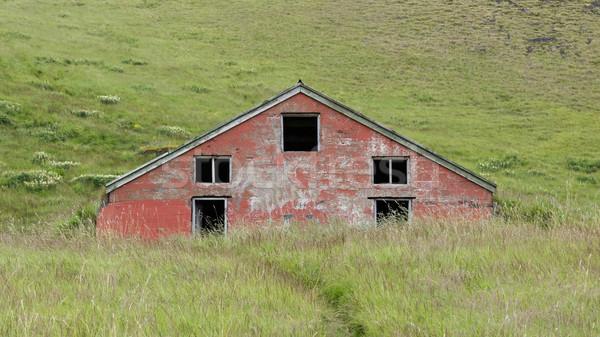 Vechi abandonat vest casă lemn peisaj Imagine de stoc © michaklootwijk