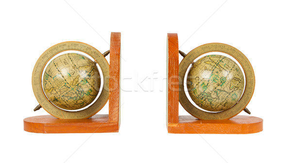 Small decorative antique globes used for books, isolated Stock photo © michaklootwijk