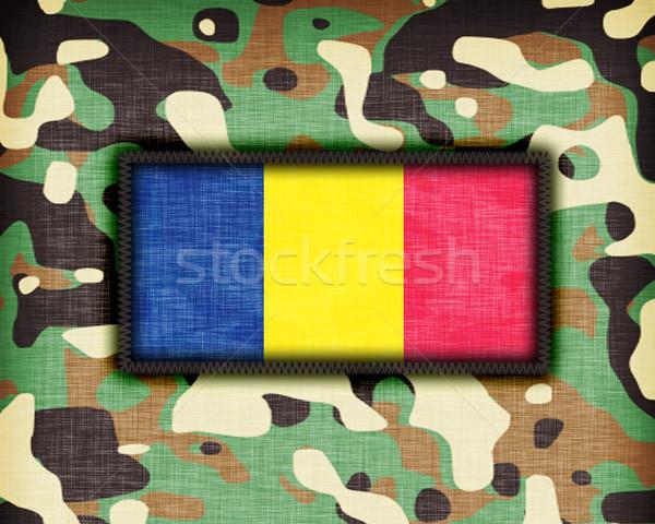 álca egyenruha Romania zászló textúra absztrakt Stock fotó © michaklootwijk