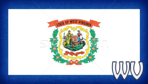 Vászon zászló Nyugat-Virginia rövidítés szövet vidék Stock fotó © michaklootwijk