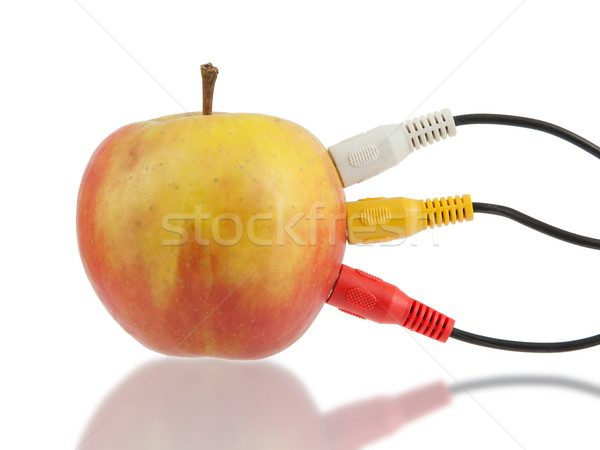 Audio video cables on apple Stock photo © michaklootwijk