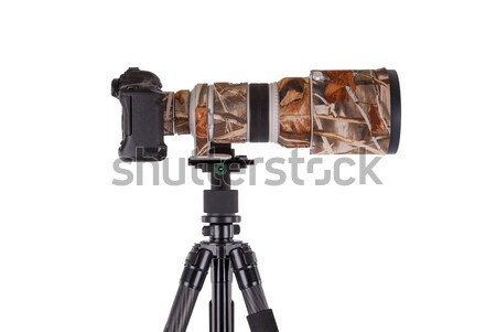 Long camouflages professional supertele on tripod Stock photo © michaklootwijk