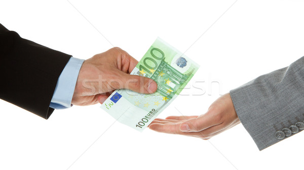 Man giving 100 euro to a woman (business) Stock photo © michaklootwijk