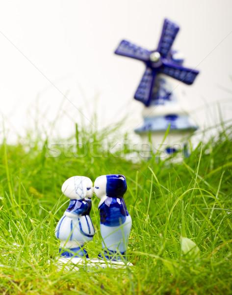 Tipikus holland kék kerámia izolált fehér Stock fotó © michaklootwijk