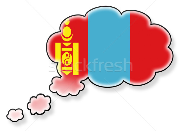 Bayrak bulut yalıtılmış beyaz Moğolistan sanat Stok fotoğraf © michaklootwijk