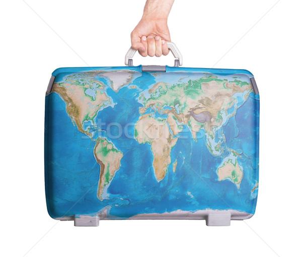 Kullanılmış plastik bavul dünya haritası iş Stok fotoğraf © michaklootwijk
