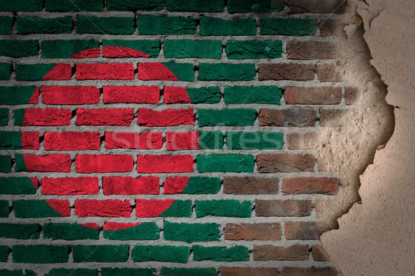 Escuro parede de tijolos gesso Bangladesh textura bandeira Foto stock © michaklootwijk