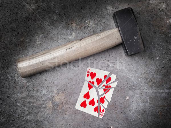 молота сломанной карт десять сердцах Vintage Сток-фото © michaklootwijk