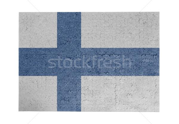 Nagy kirakós játék 1000 darabok Finnország zászló Stock fotó © michaklootwijk