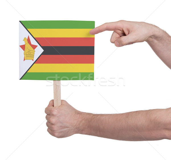 Hand holding small card - Flag of Zimbabwe Stock photo © michaklootwijk