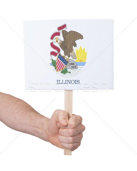 Kéz tart kicsi kártya zászló Illinois Stock fotó © michaklootwijk