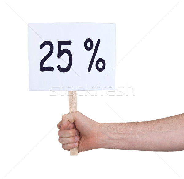 Sale - Hand holding sigh that says 25% Stock photo © michaklootwijk
