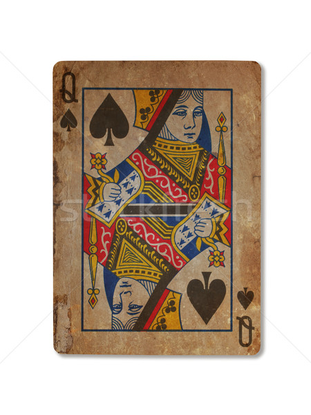 Very old playing card, Queen of spades Stock photo © michaklootwijk
